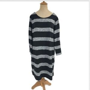 J. Crew Factory Dress Black Gray Stripe Boatneck L